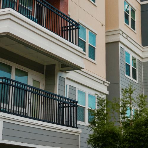 Apartment complex balcony