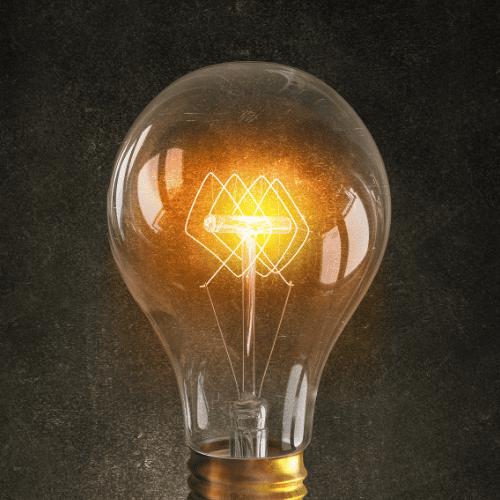 A lit up lightbulb