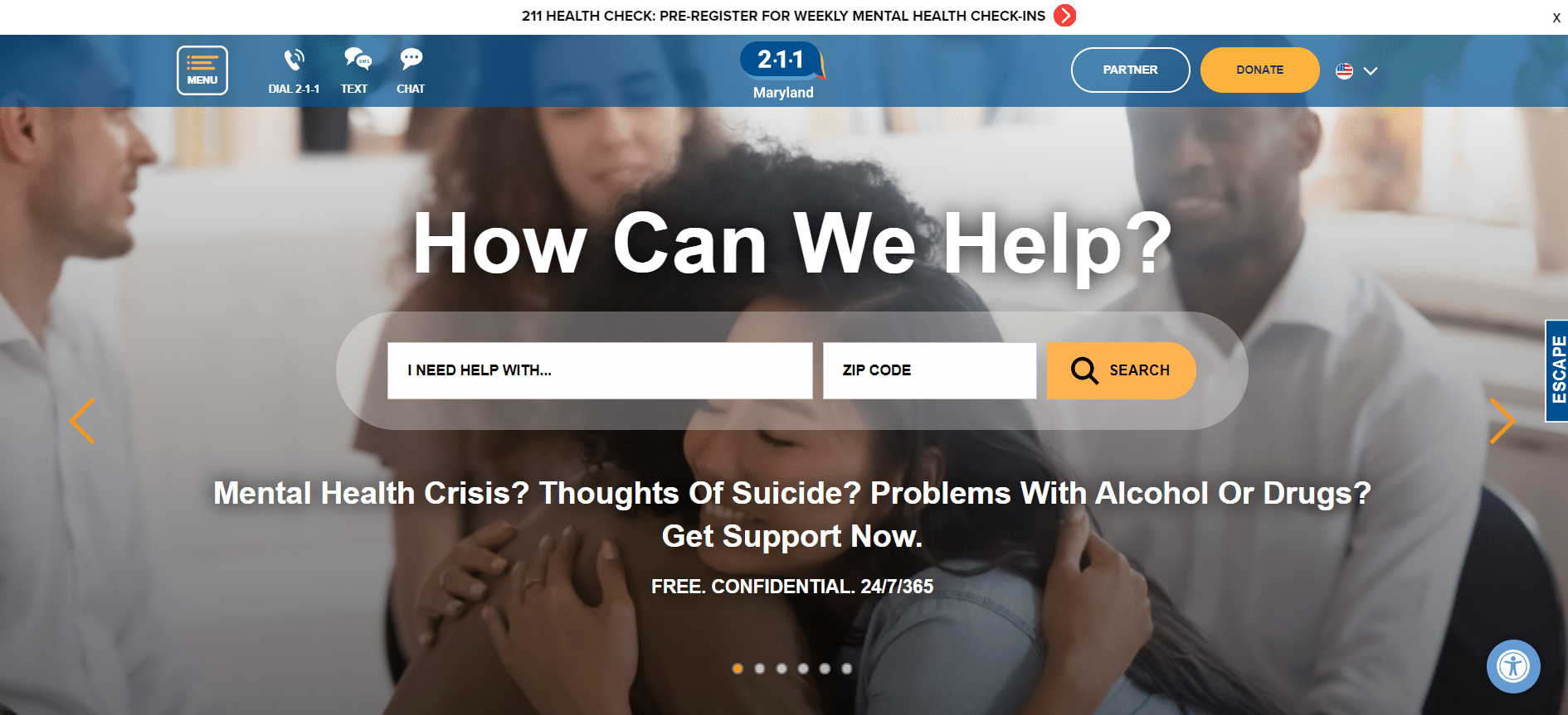 211 Maryland website homepage